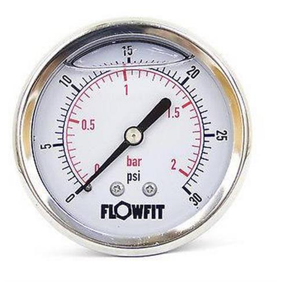"100mm Glycerine filled hydraulic pressure gauge 0-30 PSI (2 BAR) 1/2"""" bsp rear entry"