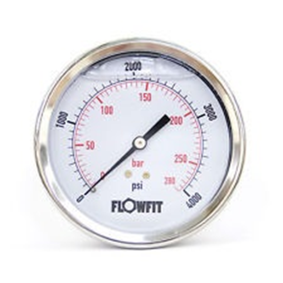 "100mm Glycerine filled hydraulic pressure gauge 0-4000 PSI (275 BAR) 1/2"""" bsp rear entry"