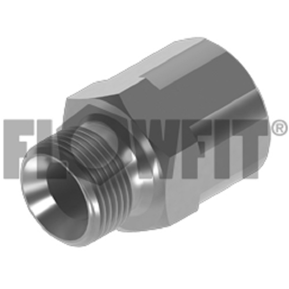 "Hydraulic adaptor BSP male x BSP fixed female extended, 1/4"" BSP x 1/4"" BSP"