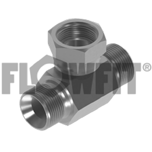 "Hydraulic adaptor BSP male x BSP male x BSP swivel female branch tee, 1-1/4"" BSP"