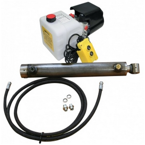 Flowfit Hydraulic 24VDC single acting trailer kit to lift 2.5 Tonne, 700mm cylinder stroke
