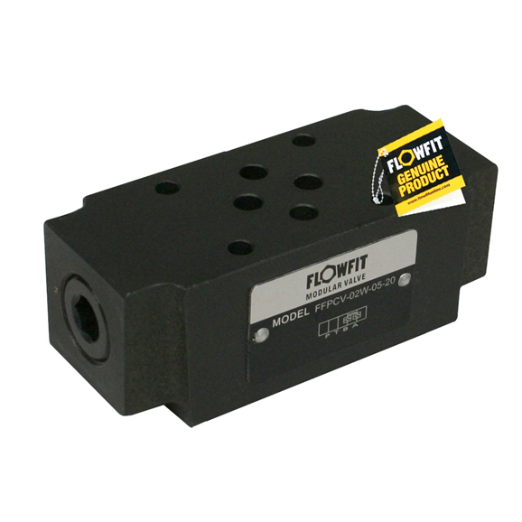 Flowfit hydraulic cetop 3 modular check valve, cracking pressure 3.5 Bar on the T port.