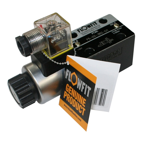 Flowfit cetop 5 valve NG10 single solenoid, 220VAC 50Hz, P Port Open to A & B Ports, T Port Blocked