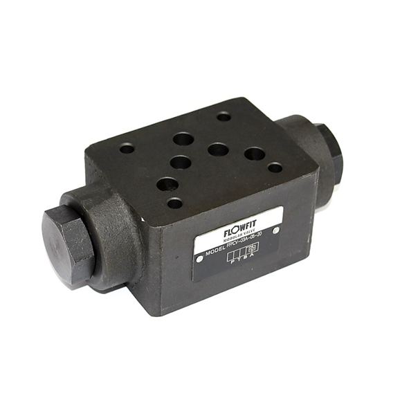 Flowfit hydraulic cetop 5 NG10 modular pilot operated check valve, C/P 0.35Bar on Ports A & B