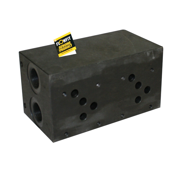Flowfit hydraulic cetop 5 3 station steel manifold with relief valve cavity