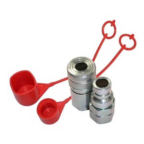 "Hydraulic flat face quick release couplings set  3/8"" BSP, DN06, ISO 10, 350 Bar rated, 23 L/min. Including female and male caps"