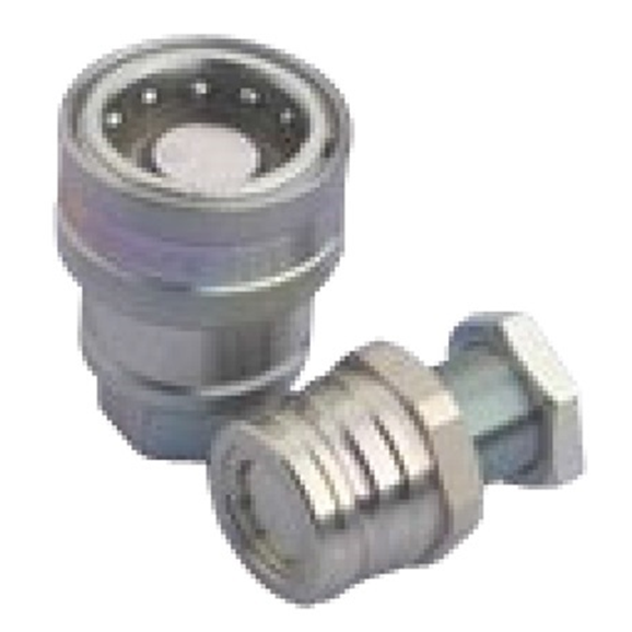 Male trailer brake quick release coupling with bulkhead connection, M18X1.5 bulkhead DN08, 150 Bar rated, 24 L/min