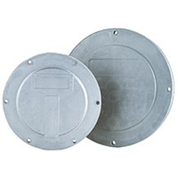Hydraulic tank inspection covers, 400mm diameter, 8 mounting holes, 9mm mounting hole size