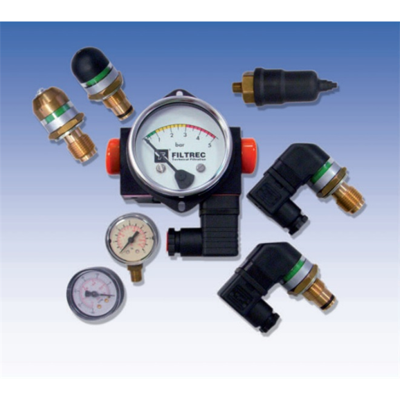 "Filtrec hydraulic clogging indicator, differential electric visual switch, 1/2"" BSP, 72.5 PSI"