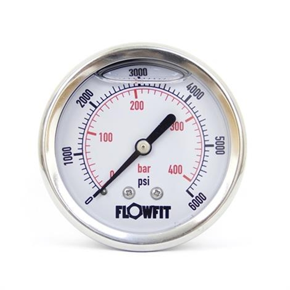 "63mm Glycerine Filled Hydraulic pressure gauge 0-6000 PSI (414 BAR) 1/4"""" bsp rear entry"