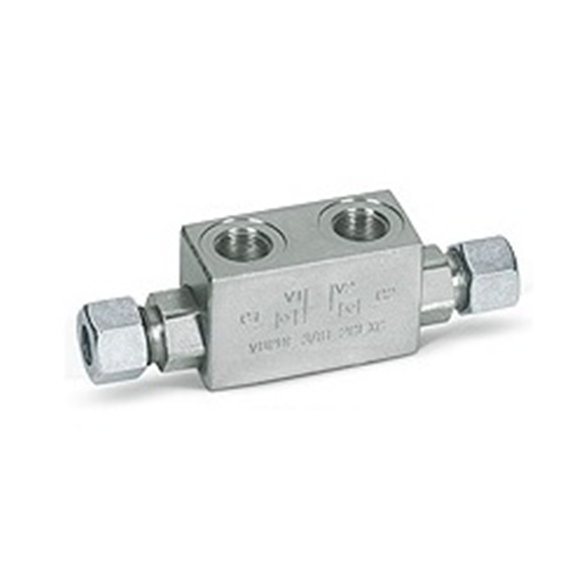 "Hydraulic double pilot operated check valves for 12 mm pipe mounting, VBPDE 1/4"" L 2 cexc-10L"