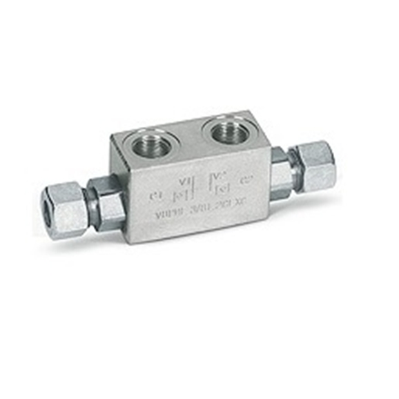 "Hydraulic single pilot operated check valve for 12mm pipe mounting, VBPSE 1/4"""" L 2 CEXC"