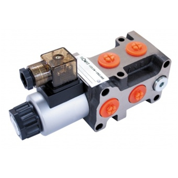"Flowfit 6 Way Hydraulic Solenoid Diverter, 3/8"" BSP Port Size, 12V DC, 50 L/Min Flows"