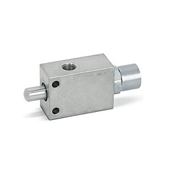 Hydraulic pushbutton end stroke valves normally open, 3/8""