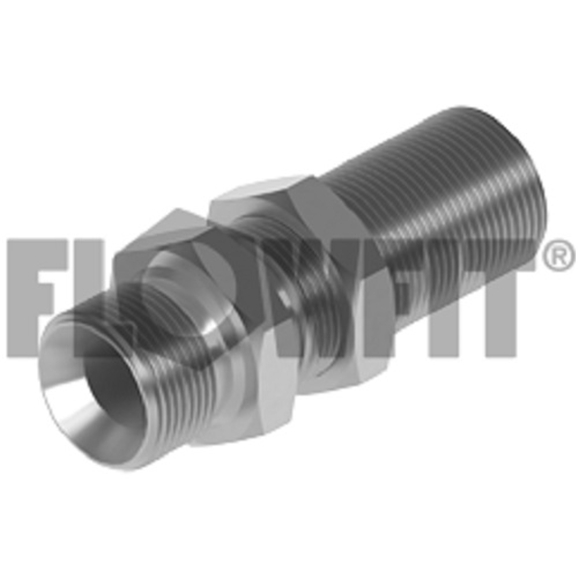 "BSP Male x BSP Male Extended Bulkhead With Locknut, 1/2"" x 3/8"""