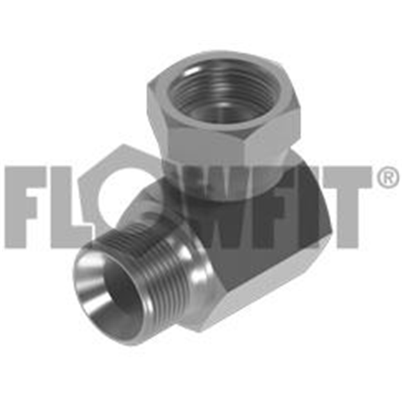 "BSP Male Bonded Seal x BSP Swivel Female 90° Compact Elbow, 1/2"" x 3/8"""