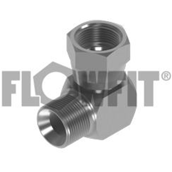 "BSP Male Cone Seat x BSP Swivel Female 90° Compact Elbow, 1/2"" x 3/8"""