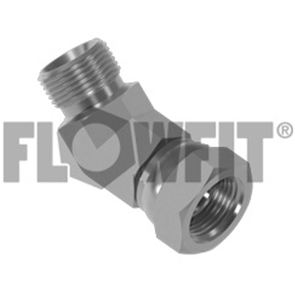 "BSP Male x BSP Swivel Female 45° Forged Compact Elbow, 3/8"" x 3/8"""