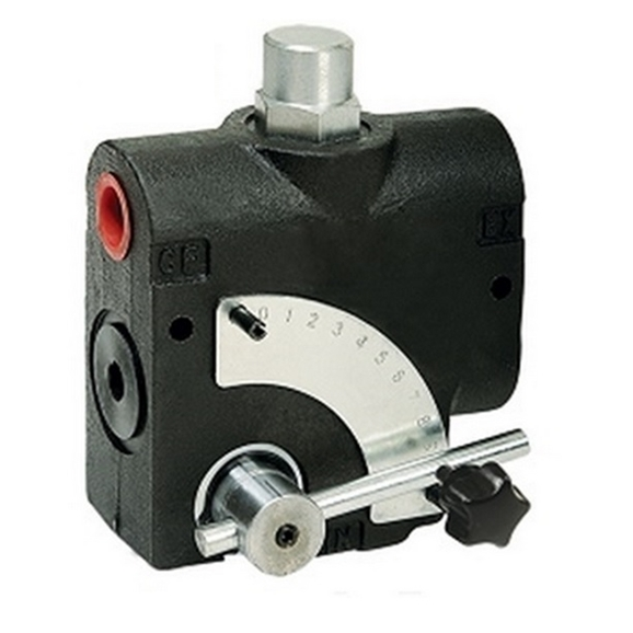 "Flowfit 3 port Adjustable flow control valve c/w Relief valve, 1/2"" BSP ports"