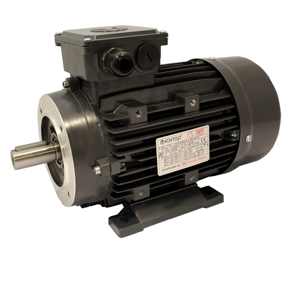 Three Phase 400v Electric Motor, 0.75Kw 4 pole 1500rpm with face and foot mount