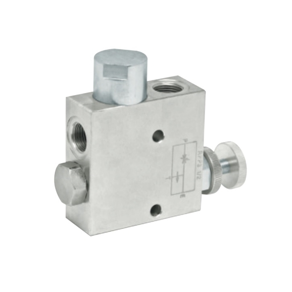 "Hydraulic 3 port flow control valve with excess back to tank with check RFP3, 1/2"""" BSP"