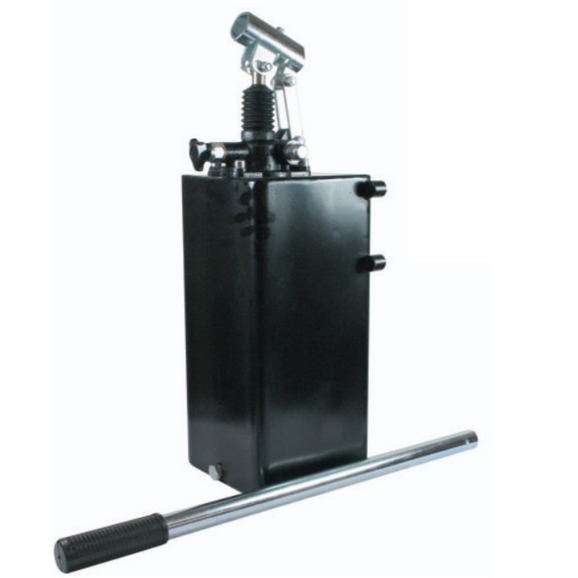 Hydraulic single acting handpump assembly 12 cc with release knob, pressure relief valve 380 Bar rated, 20 litre steel tank and 600mm handlever