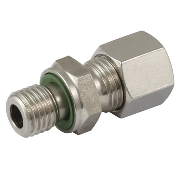 "Hydraulic L series, 10mm hose OD, 3/8"" BSPP male stud coupling"