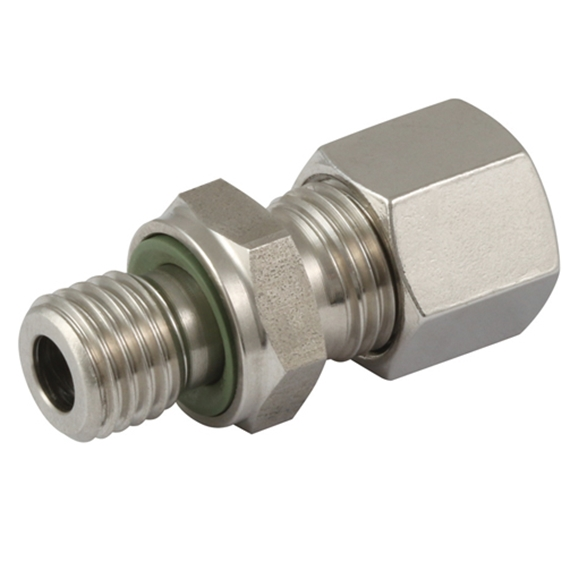 "Hydraulic S series, 14mm hose OD, 3/8"" BSPP male stud coupling"
