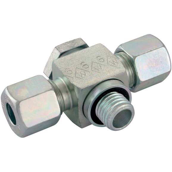 Double Banjo Couplings, Double Banjo BSPP, Light Duty With Elastomer Seal, Thread Size 3/4'', OD 22mm