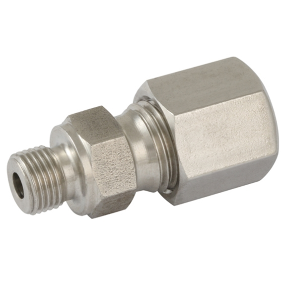 "Hydraulic S series, 8mm hose OD, 3/8"" BSPP, Form B Sealing, male stud coupling"