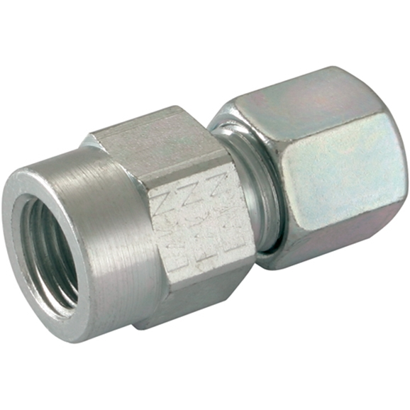 Female Gauge Couplings, BSPP, Tube, Heavy Duty, Thread Size 1/2'', OD 8mm
