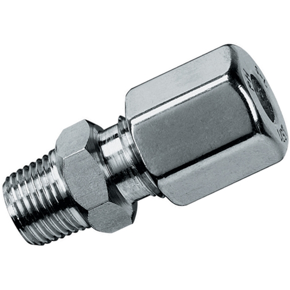 "Male Stud Coupling, L Series, 1/4"" BSPT, hose OD 6mm"