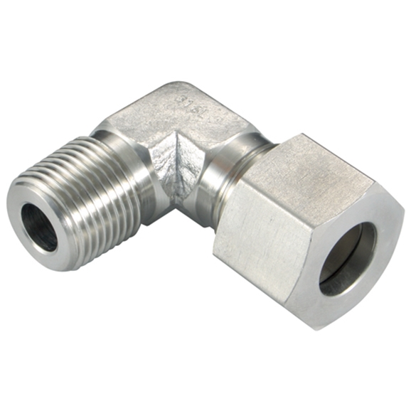 Male Stud Elbows, L Series, NPT, Thread Size 3/8'', OD 15mm