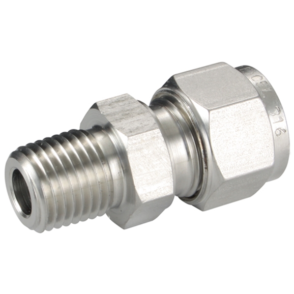 "Male Connectors, Male Thread, 3/8"""" BSPT, hose OD 1/4"""""