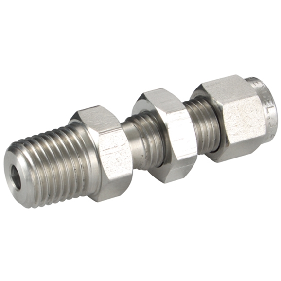 "Bulkhead Male Connectors, Male Thread, 3/8"" NPT, hose OD 1/2"""