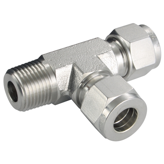 "Male Run Tees, Male Thread, 1/8"" NPT, hose OD 1/4"""