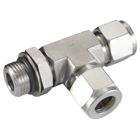 "Male Positionable Run Tees, Male Thread, 3/4""-16 SAE/MS, hose OD 1/2"""