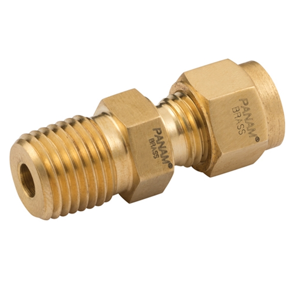 Male Straight Connector, Male Thread, NPT, Thread Size 1/4'', OD 1/8''