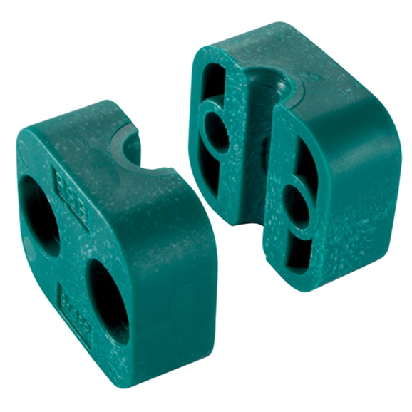 Series A Light Duty Clamp Halves, Single Polypropylene InsIDe Smooth, OutsIDe Diameter 15mm