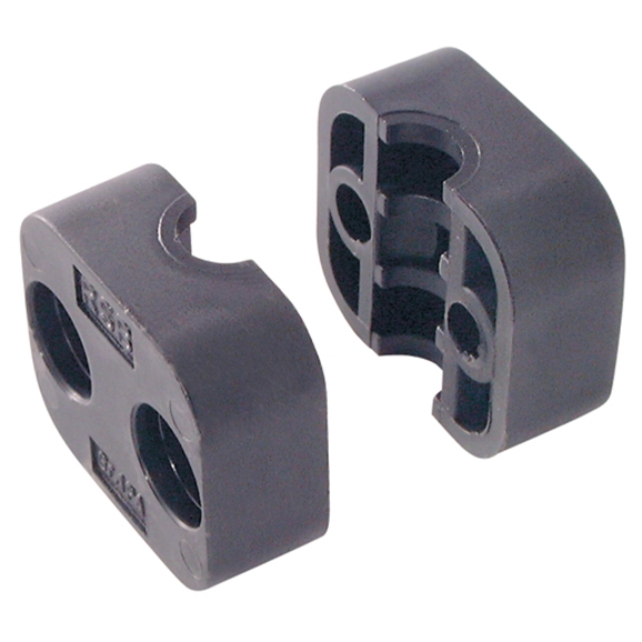 Series A Light Duty Clamp Halves, Single PolymIDe 6 (Fire Retardant), OutsIDe Diameter: 8mm