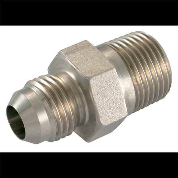 Stainless Steel, Male Stud Coupling, UNF x BSPT, UNF 7/16''-20 x 1/2'' BSPT