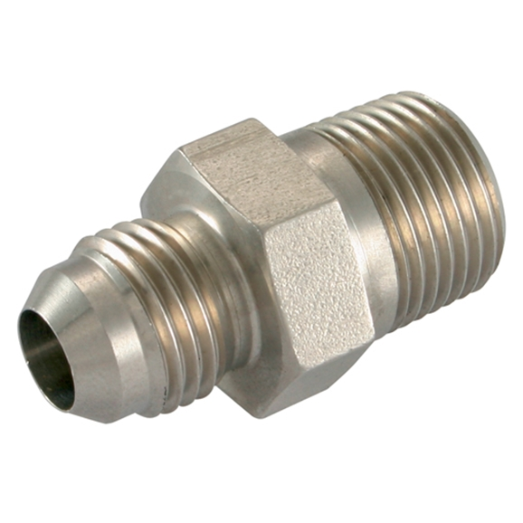 Stainless Steel, Male Stud Coupling, UNF x NPT, UNF 7/16''-20 x 1/4'' NPT