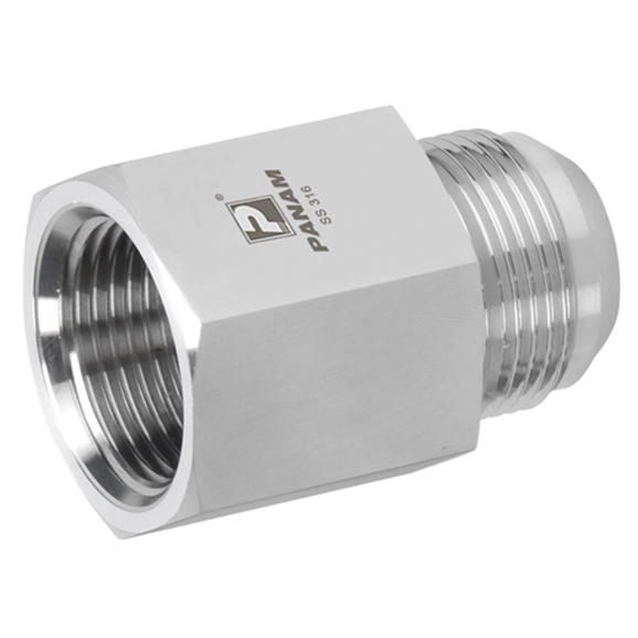 Stainless Steel Female Stud Coupling, Male UNF x Female BSPP, UNF 1/2'' - 20 x 1/8'' BSPP