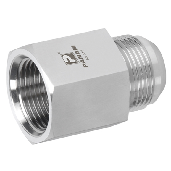 Stainless Steel Female Stud Coupling, Male UNF x Female NPT, UNF 9/16'' - 18 x 1/4'' NPT
