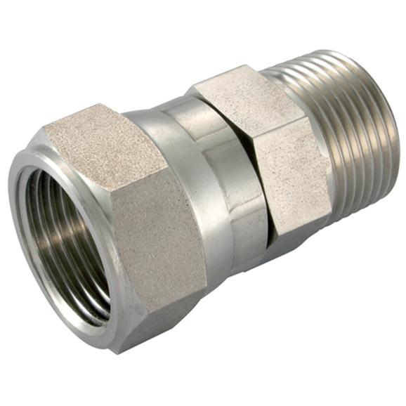 Stainless Steel Female Swivel Connector, Male NPT x Female UNF, NPT 3/8'' x 9/16'' - 18  UNF