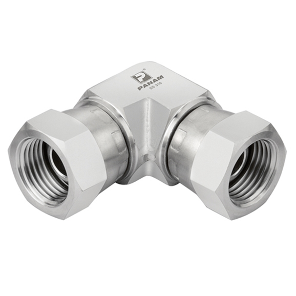 Stainless Steel Swivel Elbows, Equal Female, UNF 1.3/16'' -12
