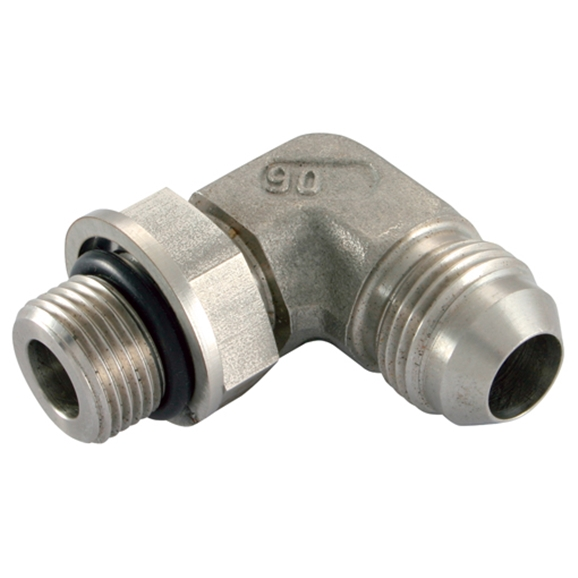 Stainless Steel 90° Position Elbow, UNF Male x BSP Male, 1.1/16''-12 x 1/2''
