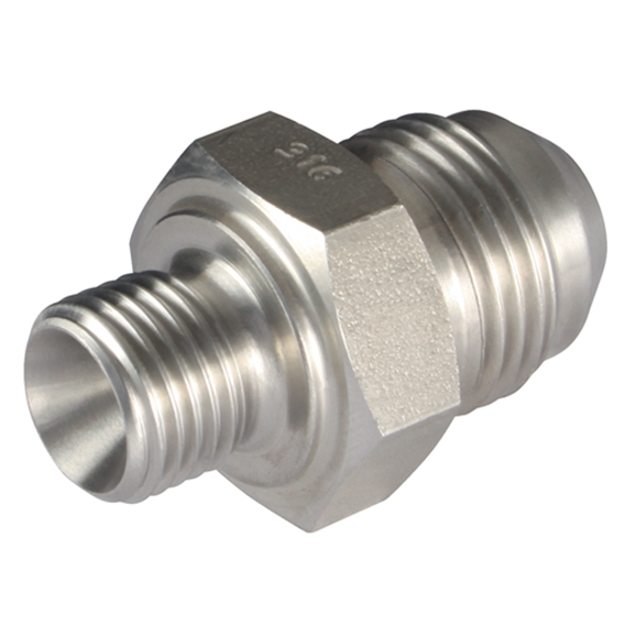 Male x Male Straight Adaptors, BSPP x JIC, Thread Size A 1/4'', Thread Size B 9/16''