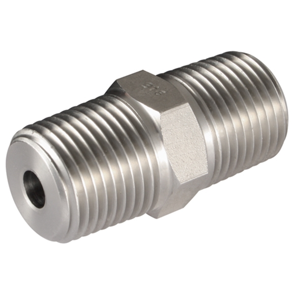 Male x Male Straight Adaptors, NPT x NPT, Thread Size A 1'', Thread Size B 3/8''