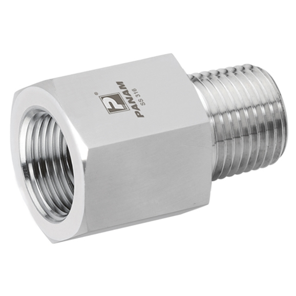 Male x Female Straight Adaptors, NPT x NPT, Male Thread Size 1/4'', Female Thread Size 3/4''